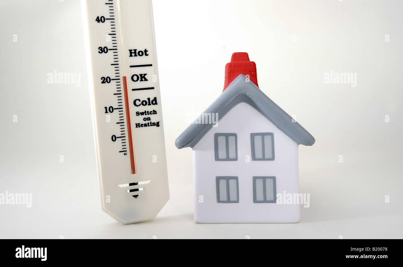 house with thermometer showing 20 degrees celcius room