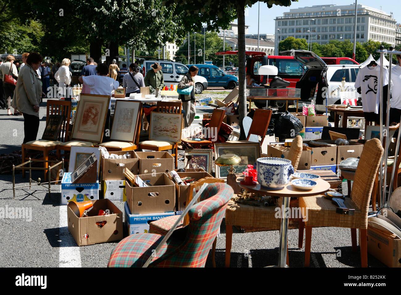 flea market in geneve marche aux puces at the paine de plainpalais stock photo royalty free. Black Bedroom Furniture Sets. Home Design Ideas