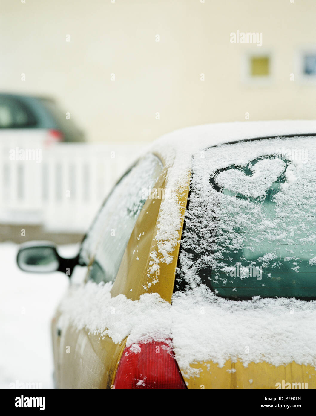 Heart shape carved on a car Stock Foto