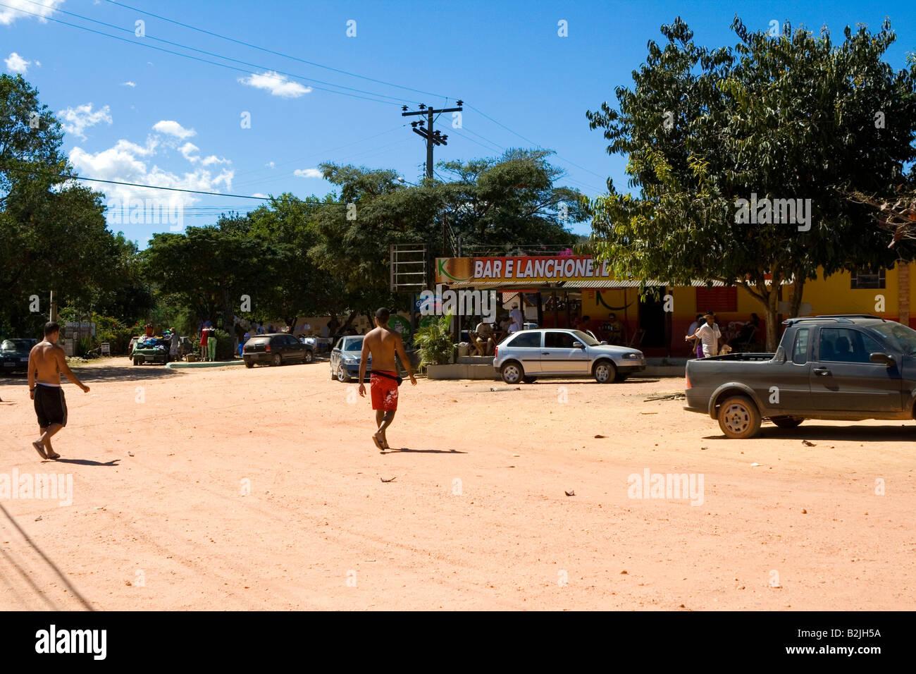 Central Square, Street Scene, Povoado de São Jorge, Goiás, Brazil, South America Stock Photo