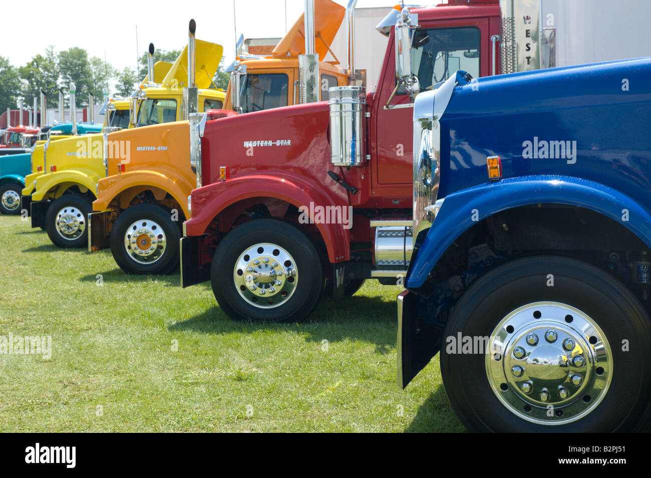 Tractor Trailer Stock : Semi tractor trailer big rig trucks stock photo royalty