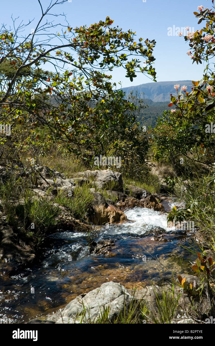 Rio Cristal View, Alto Paraiso, Chapada dos Veadeiros, Tableland, Goias, Brazil Stock Photo