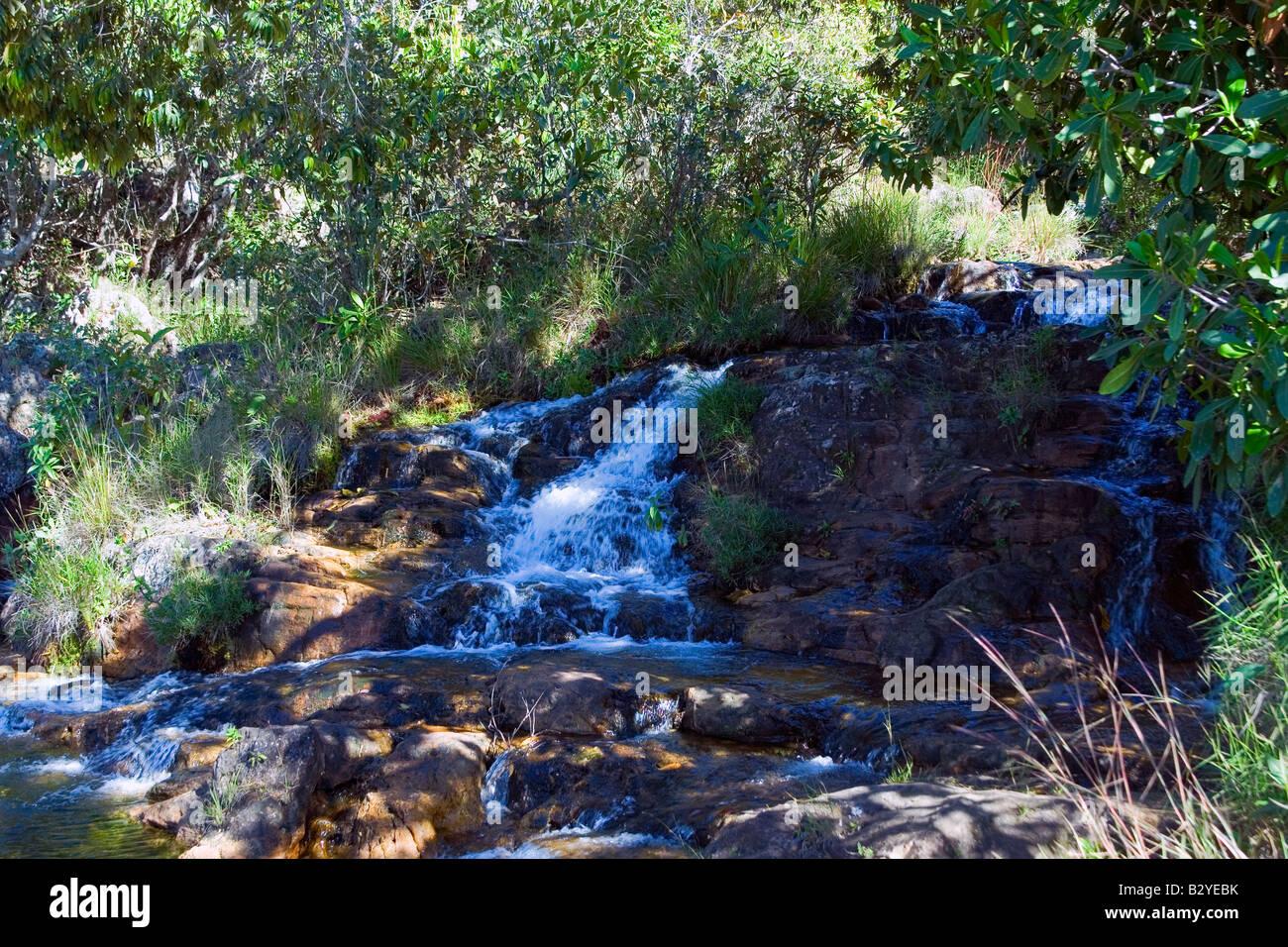 Waterfall, Cristal River, Rio Cristal, Chapada dos Veadeiros, Veadeiros Tableland, Goias, Brazil Stock Photo