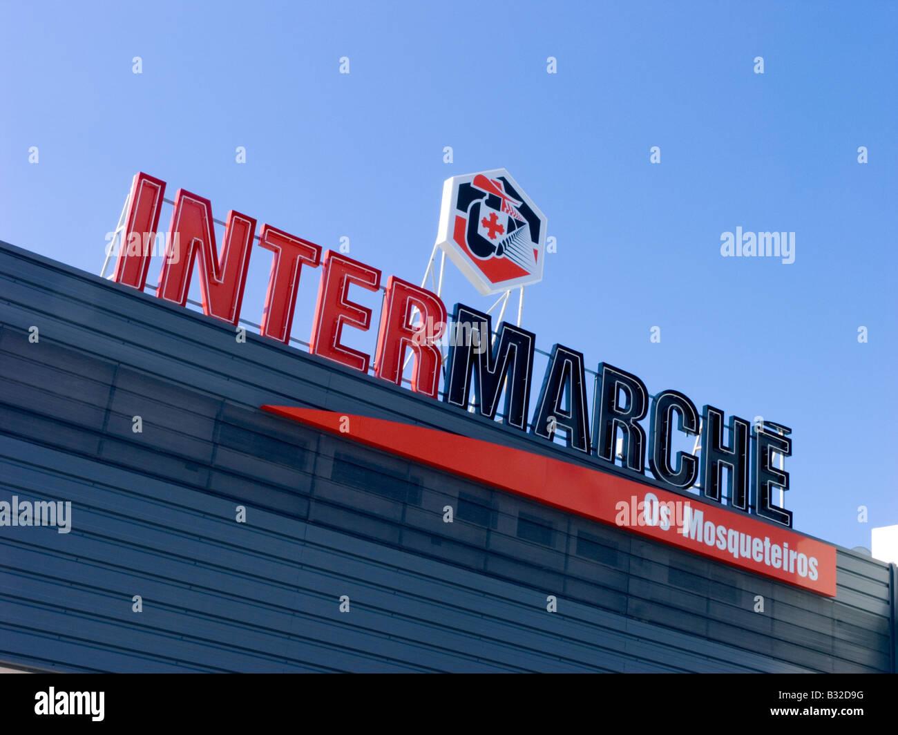 Intermarche sign Os Mosqueteiros Stock Photo