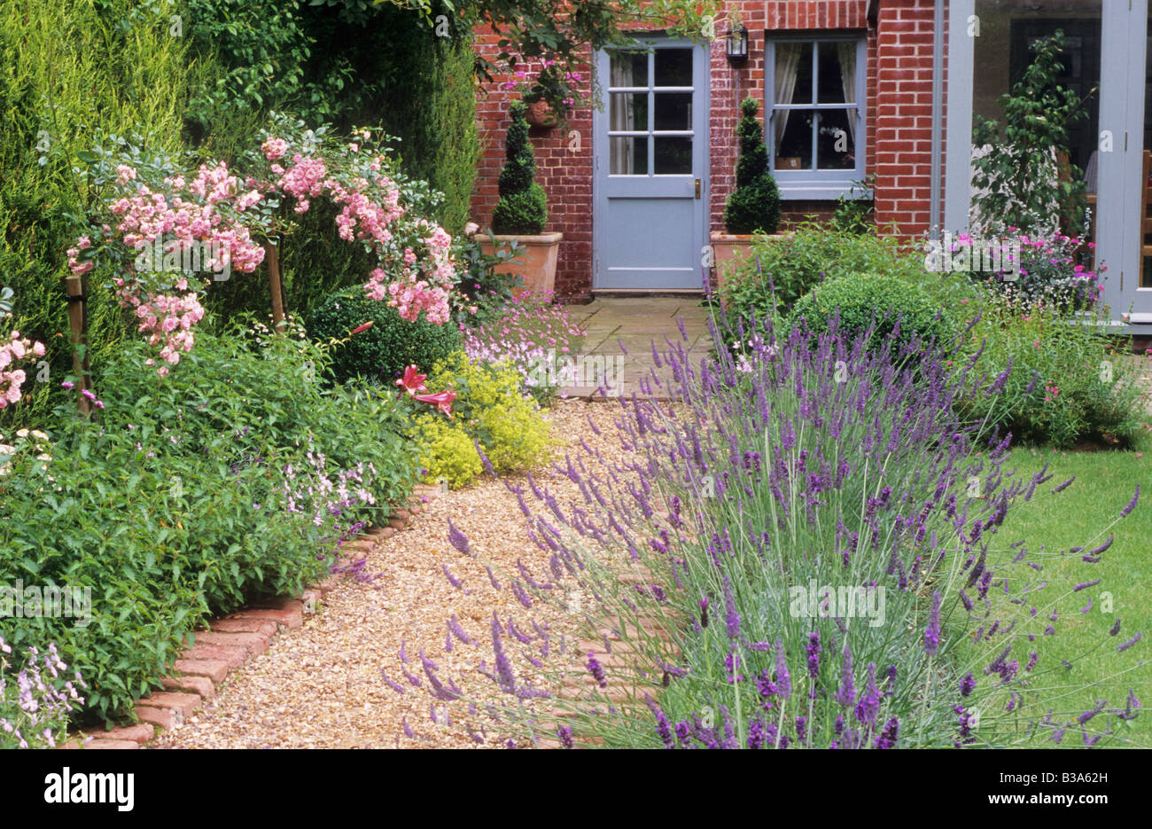 Brick And Gravel Path Borders With Lavender Rosa The