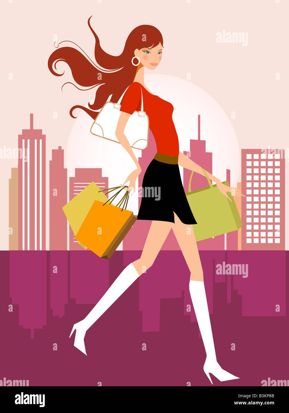 illustration drawing of shopping girl Stock Foto