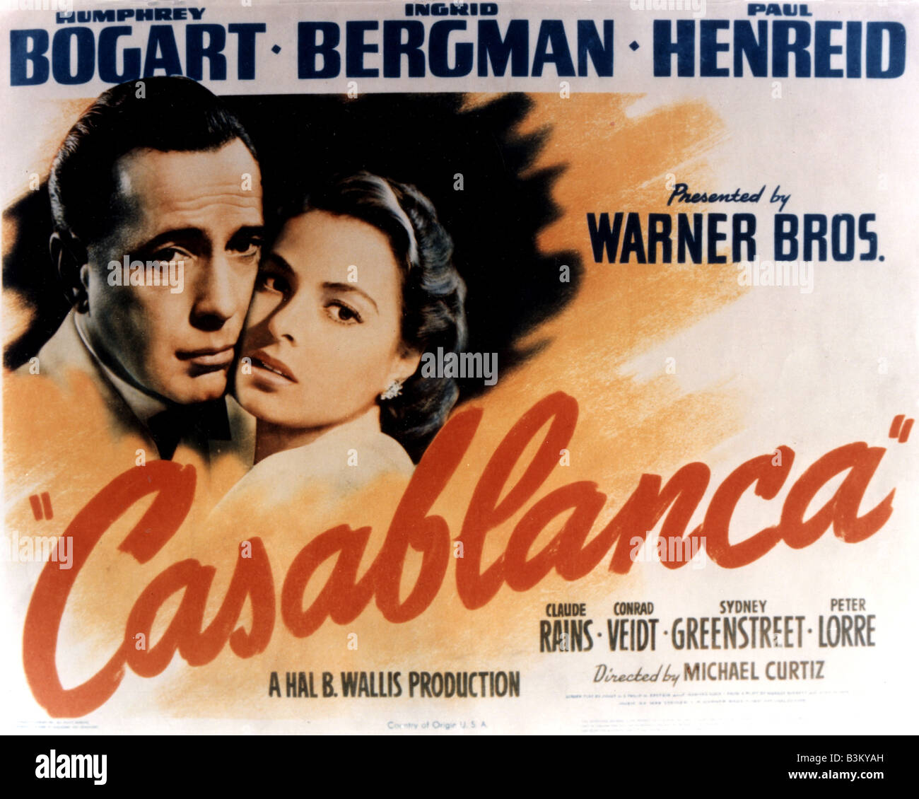 Casablanca poster for 1942 warner film with humphrey bogart and stock photo royalty free image for Poster casablanca