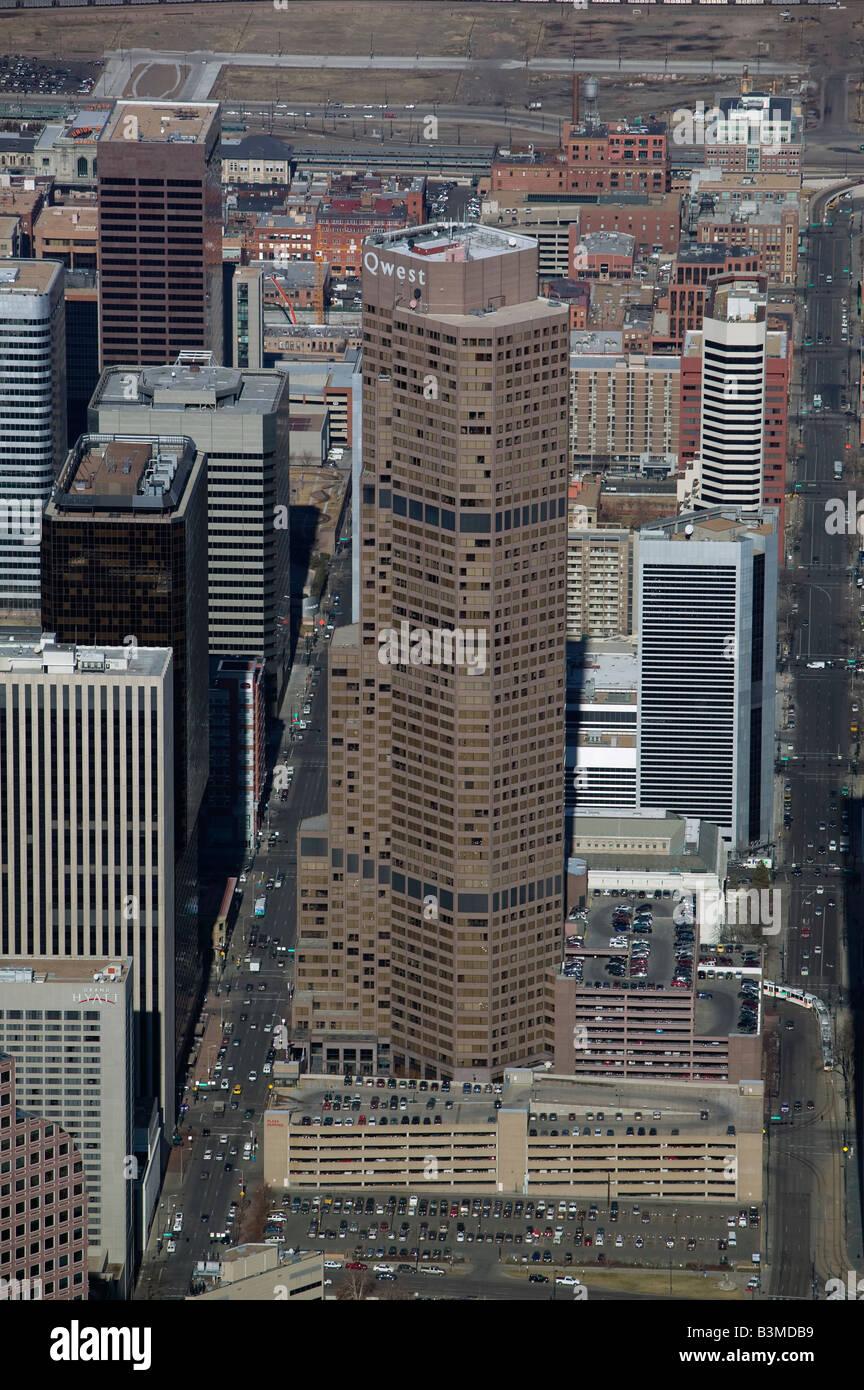aerial view above Qwest tower Denver Colorado CO Stock Photo
