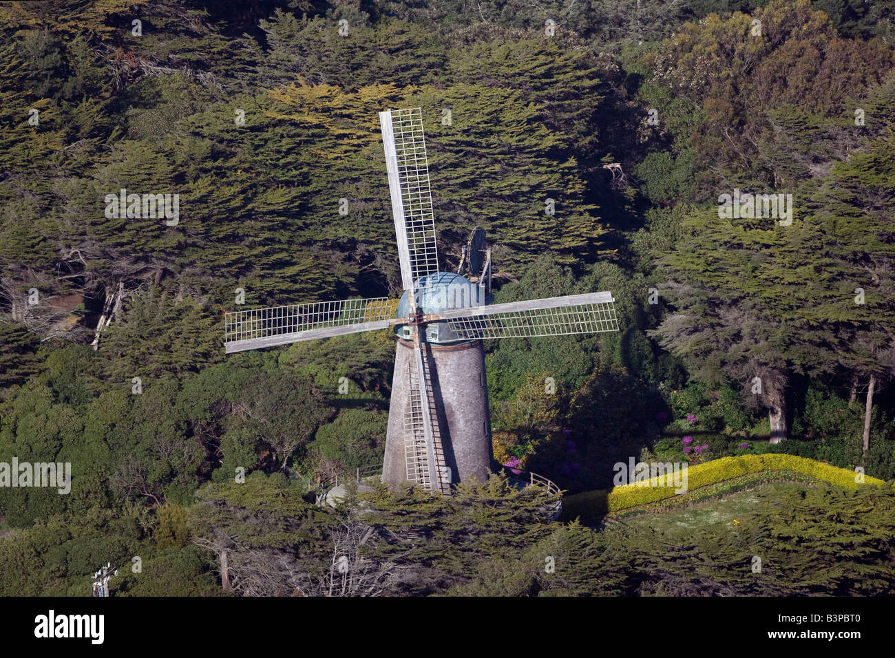 aerial view above windmill Golden Gate park San Francisco California Stock Photo