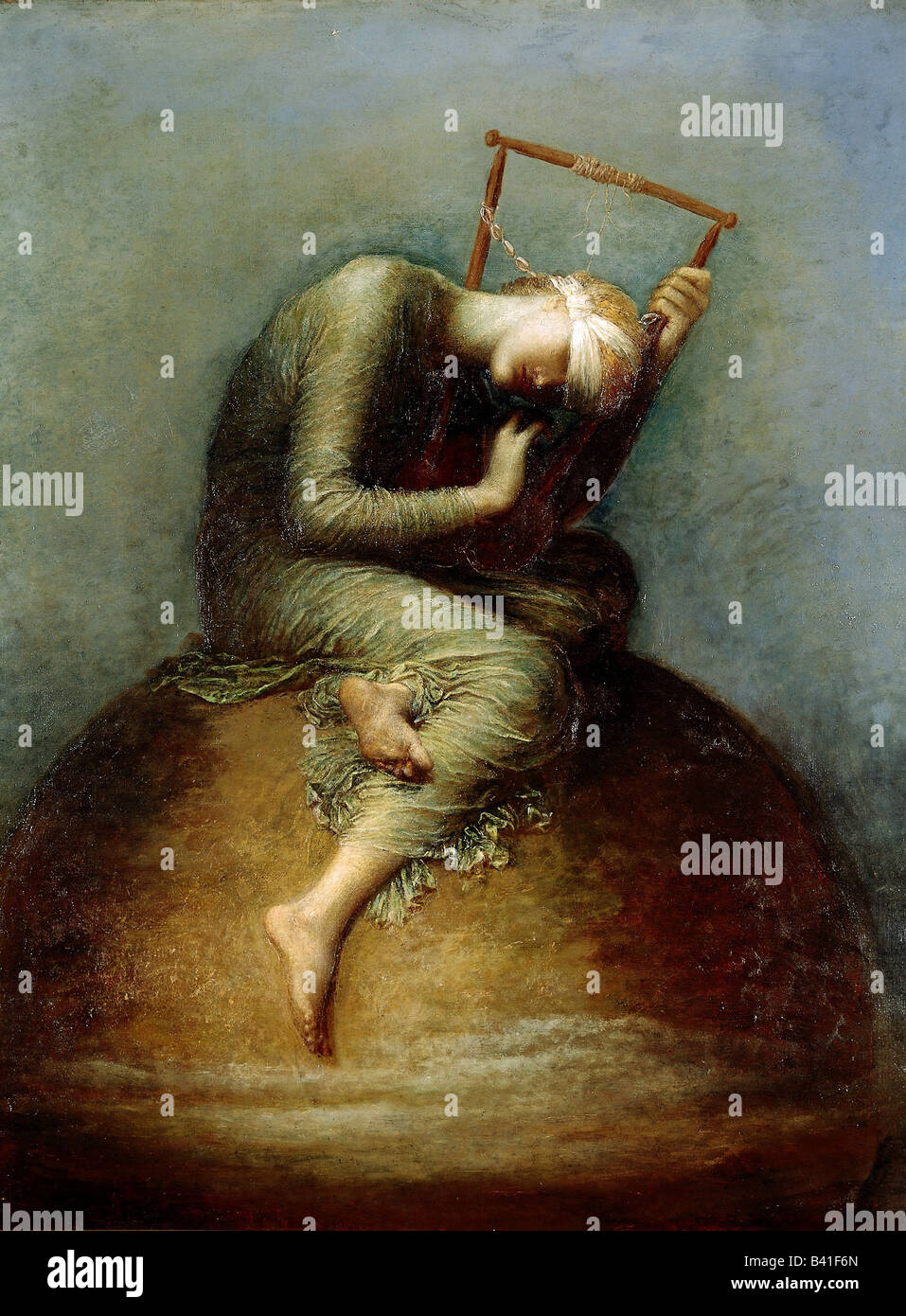 "fine arts - Watts, George Frederic (1817 - 1904), painting, ""Hope"", 1885, oil on canvas, 141 x 110 cm, Tate Gallery, Stock Photo"