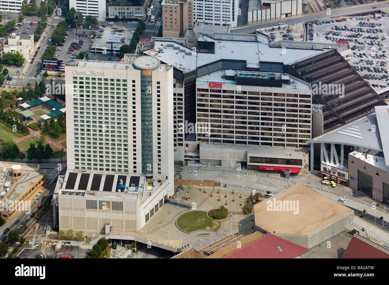aerial view above CNN Center Cable Network News corporate headquarters Atlanta, Georgia Turner Omni hotel Stock Photo