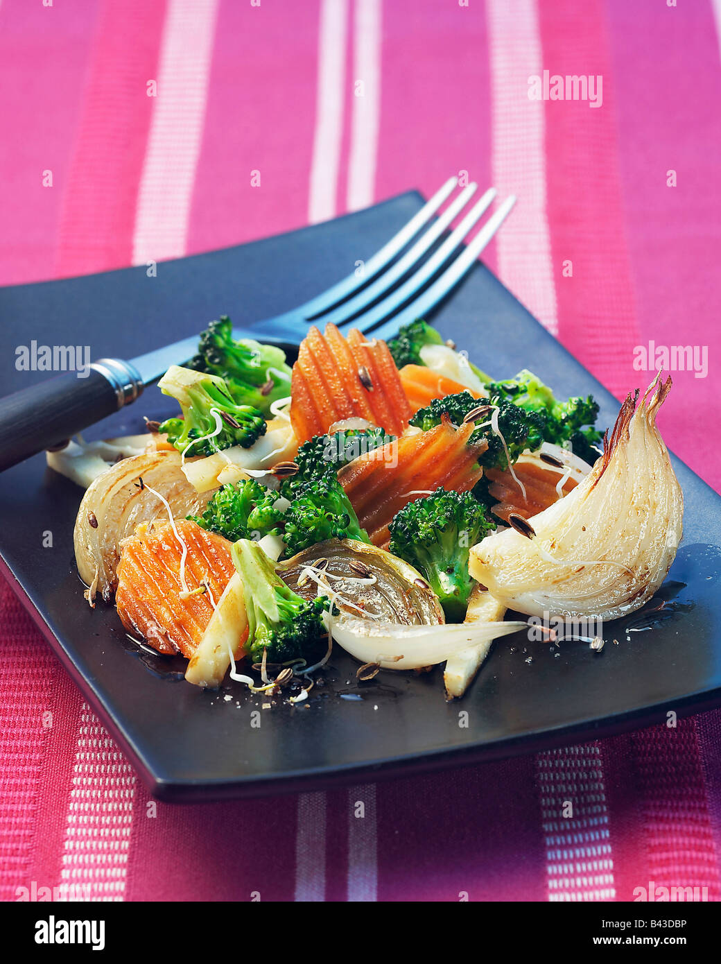 Pan-fried vegetables with sprouts Stock Foto