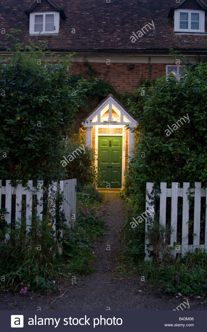 country cottage with lite doorway Stock Foto