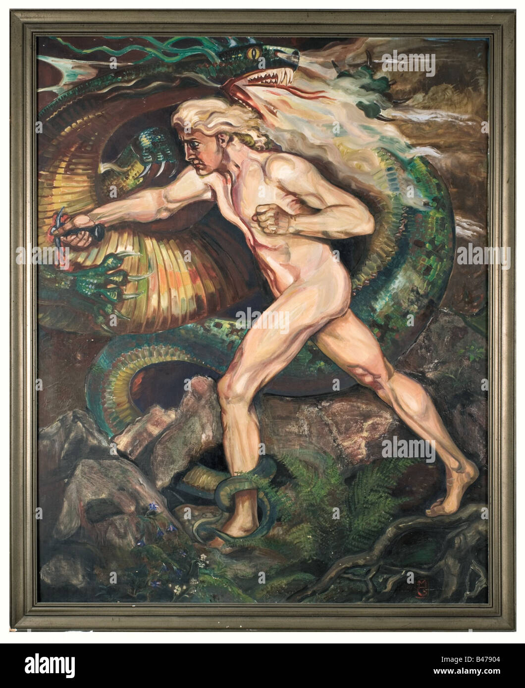 Mathias Guckenhan - Siegfried slaying the dragon., Monumental painting. Oil on canvas, on the lower right side the Stock Foto
