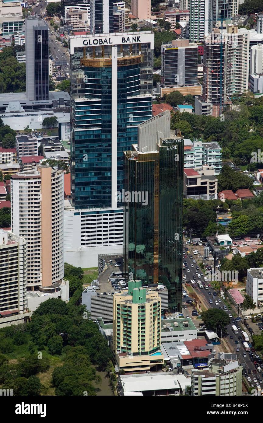 aerial above Global Bank, Panama City Stock Photo