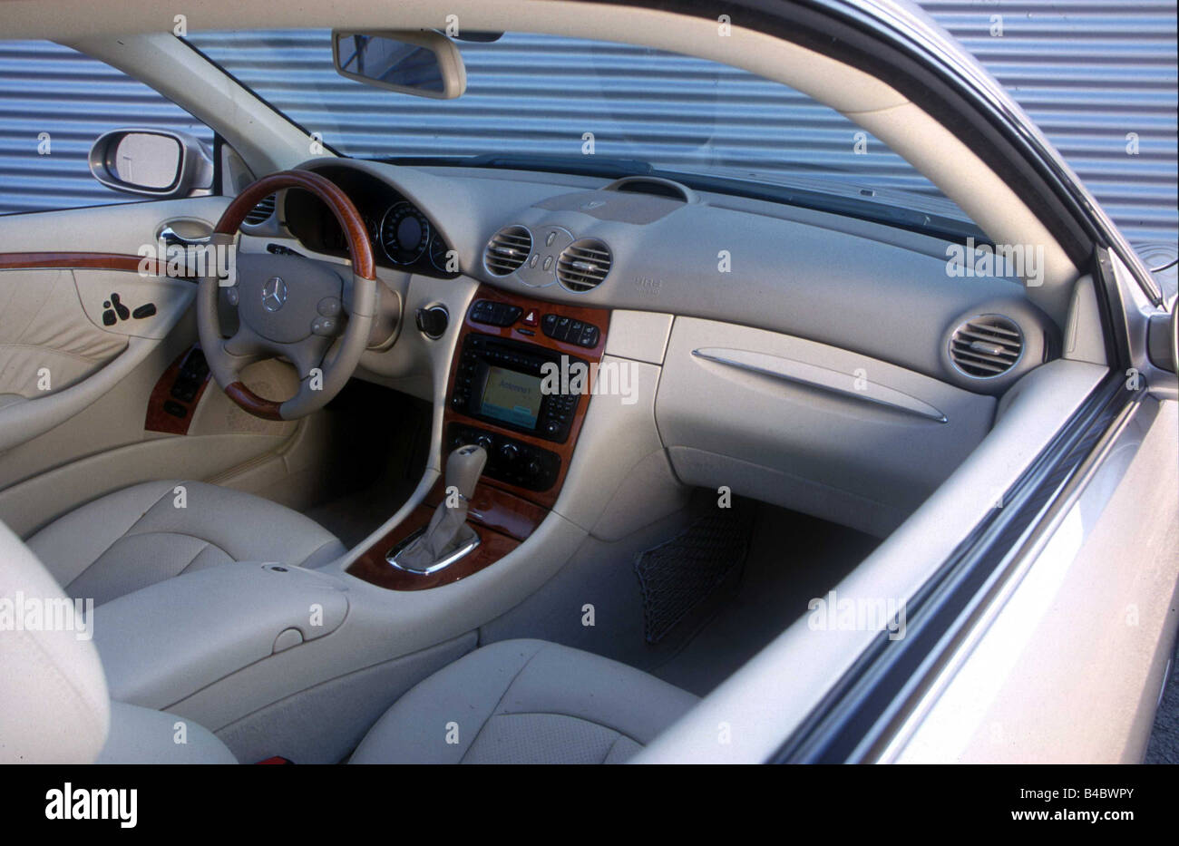 car mercedes clk 270 cdi coupe roadster model year 2002 silver stock photo royalty free. Black Bedroom Furniture Sets. Home Design Ideas