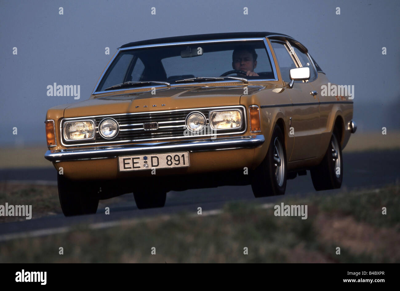 car ford taunus yellow youngtimer coupe coupe driving. Black Bedroom Furniture Sets. Home Design Ideas