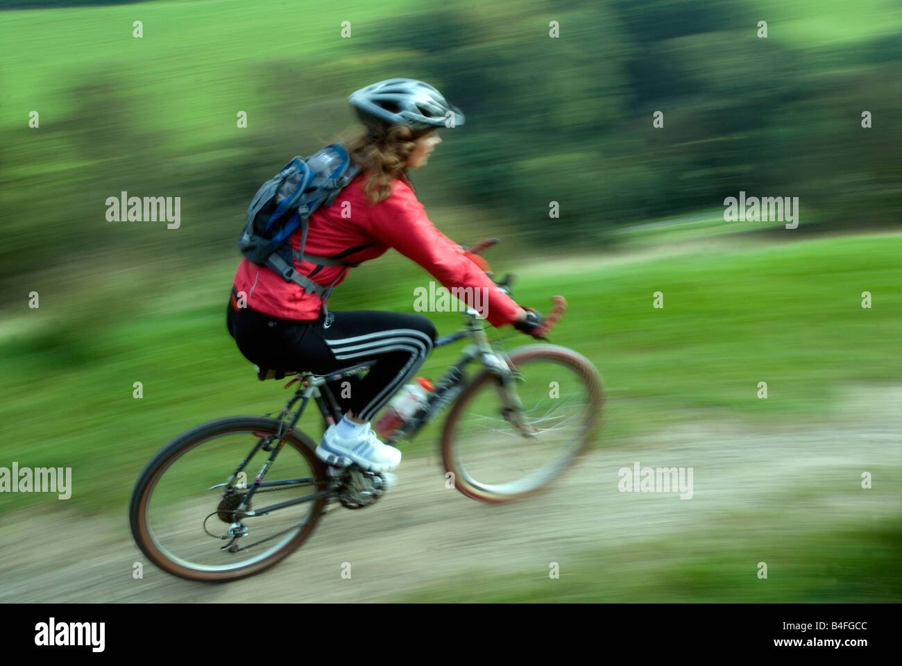 Mountain biking Hayfield Peak District National Park Derbyshire England UK GB Stock Photo