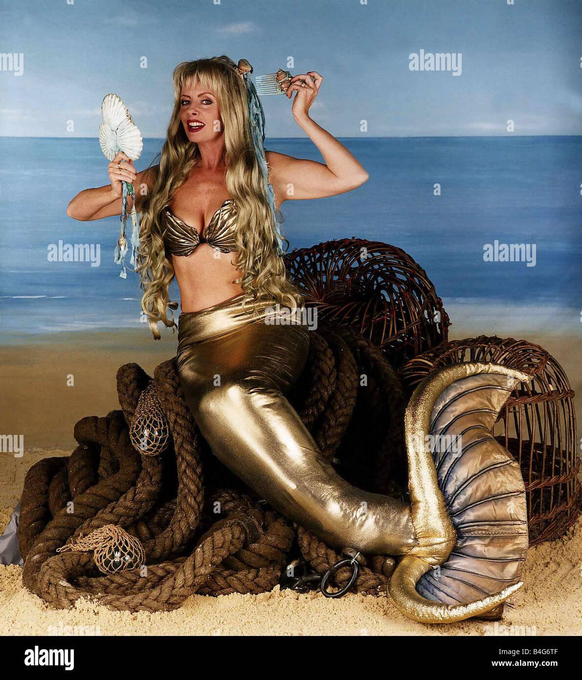 vicki michelle the actress from allo allo mermaid stock
