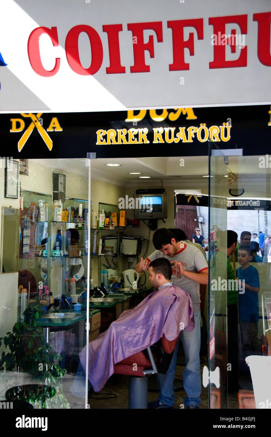 Istanbul Istiklal Caddesi Beyoglu shopping street quarter barber shop Stock Photo Royalty Free ...