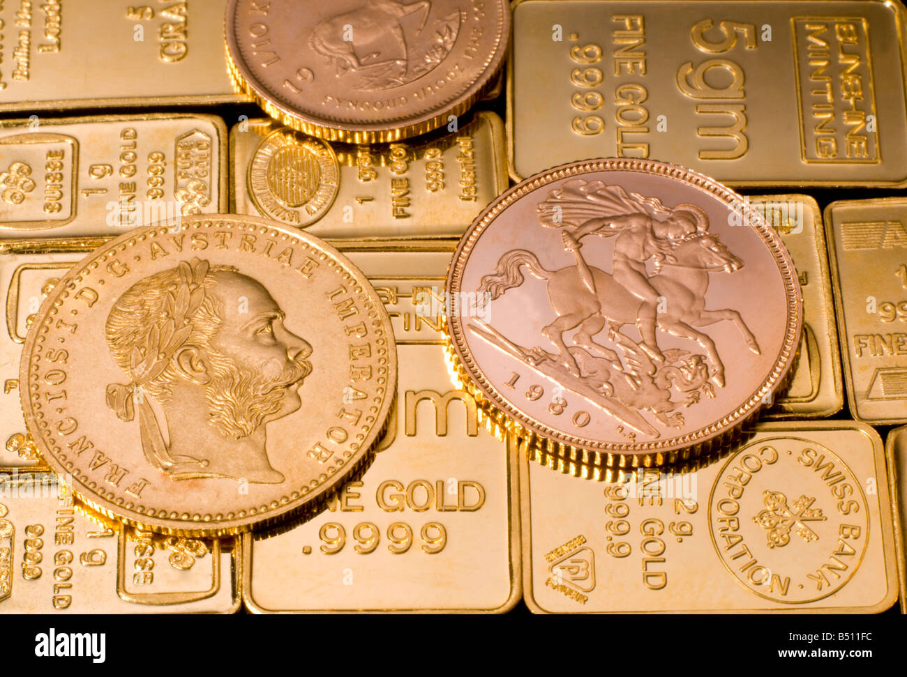 gold bullion in small bars and coins including half sovereign stock photo royalty free image. Black Bedroom Furniture Sets. Home Design Ideas
