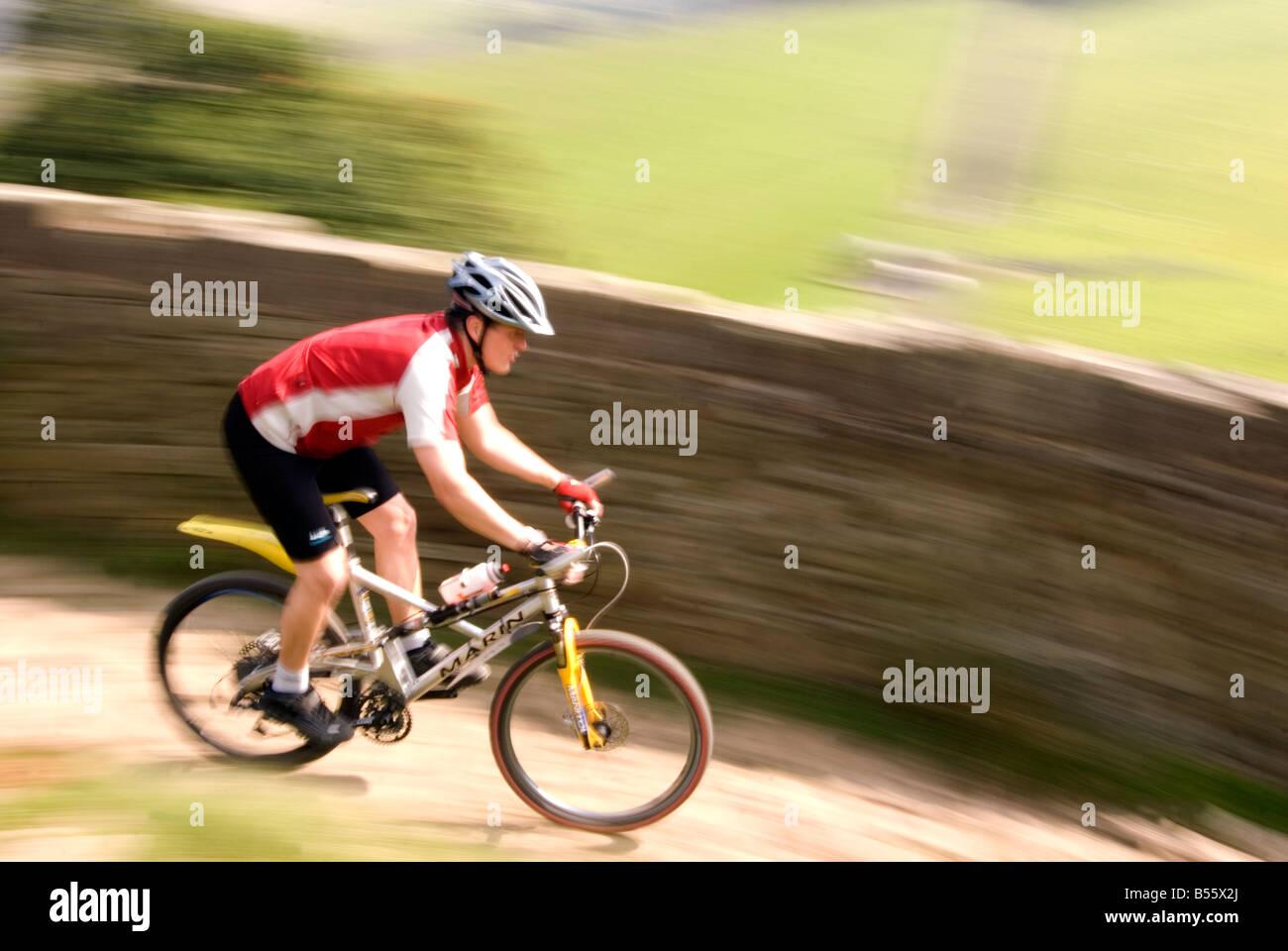 mountain biking in the Peak District National Park Derbyshire UK England GB Great Britain Stock Photo