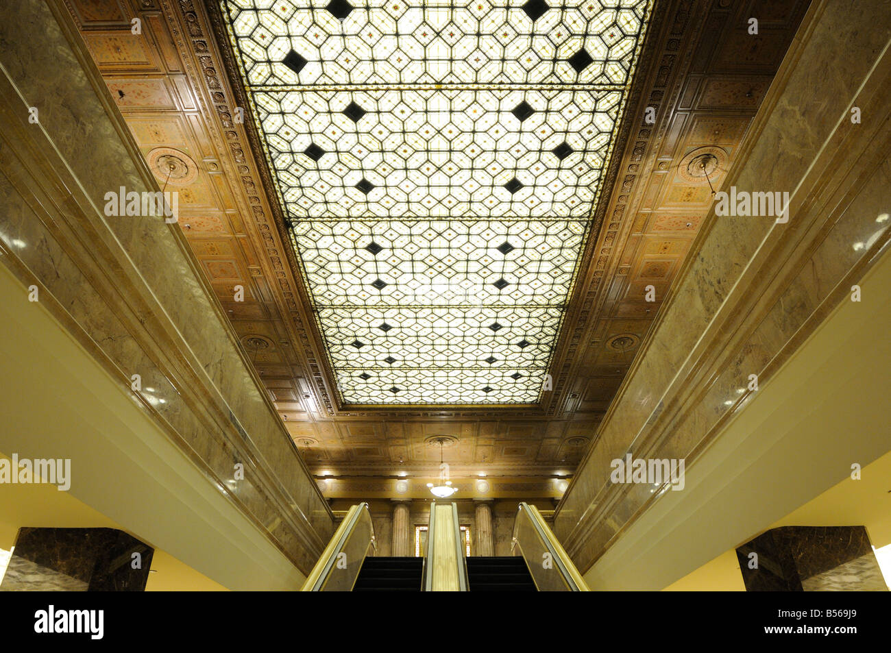 The two story art deco style lobby of lasalle bank for Art deco building materials