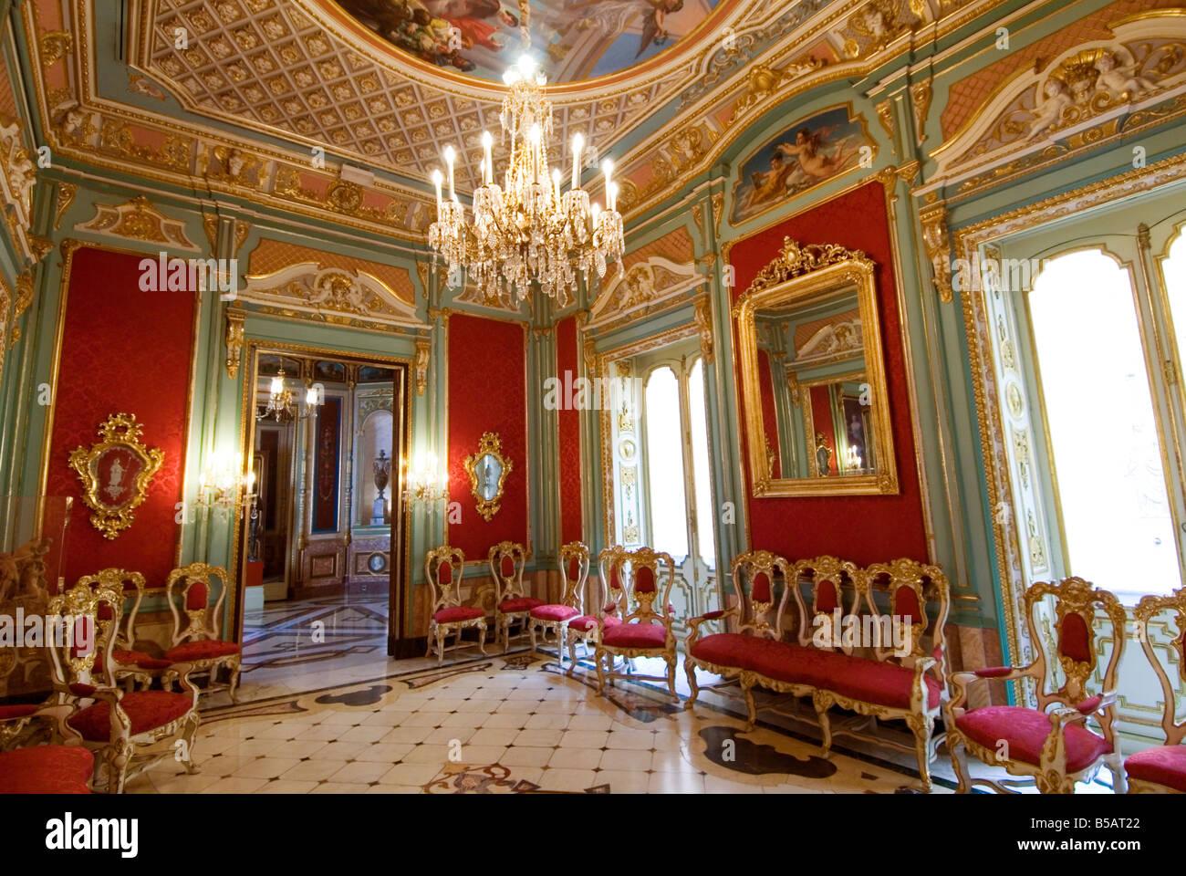 The Red Hall Sala Roja Inside The Palacio Del Marques De Dos Aguas Stock Phot...