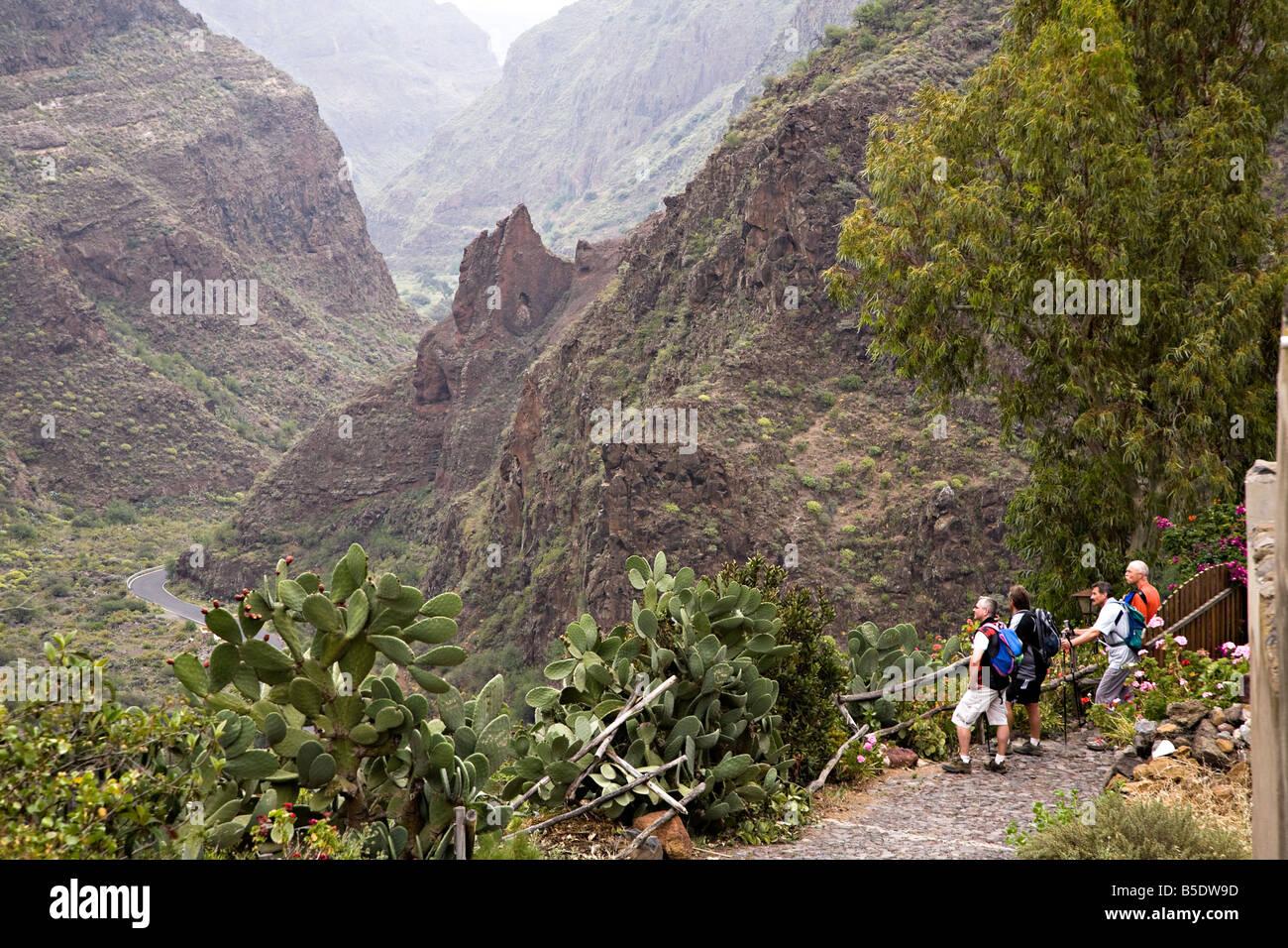 Hiking group in the Barranco de Guayadeque Gran Canaria Spain Stock Photo, Ro...