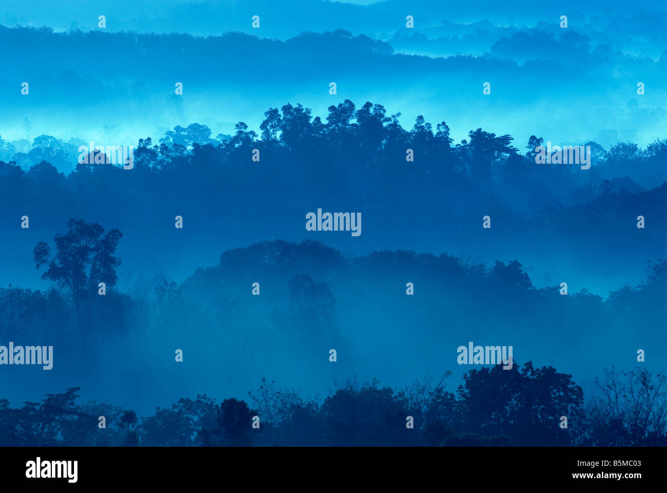 Misty morning of hilly area with ray of light Stock Foto