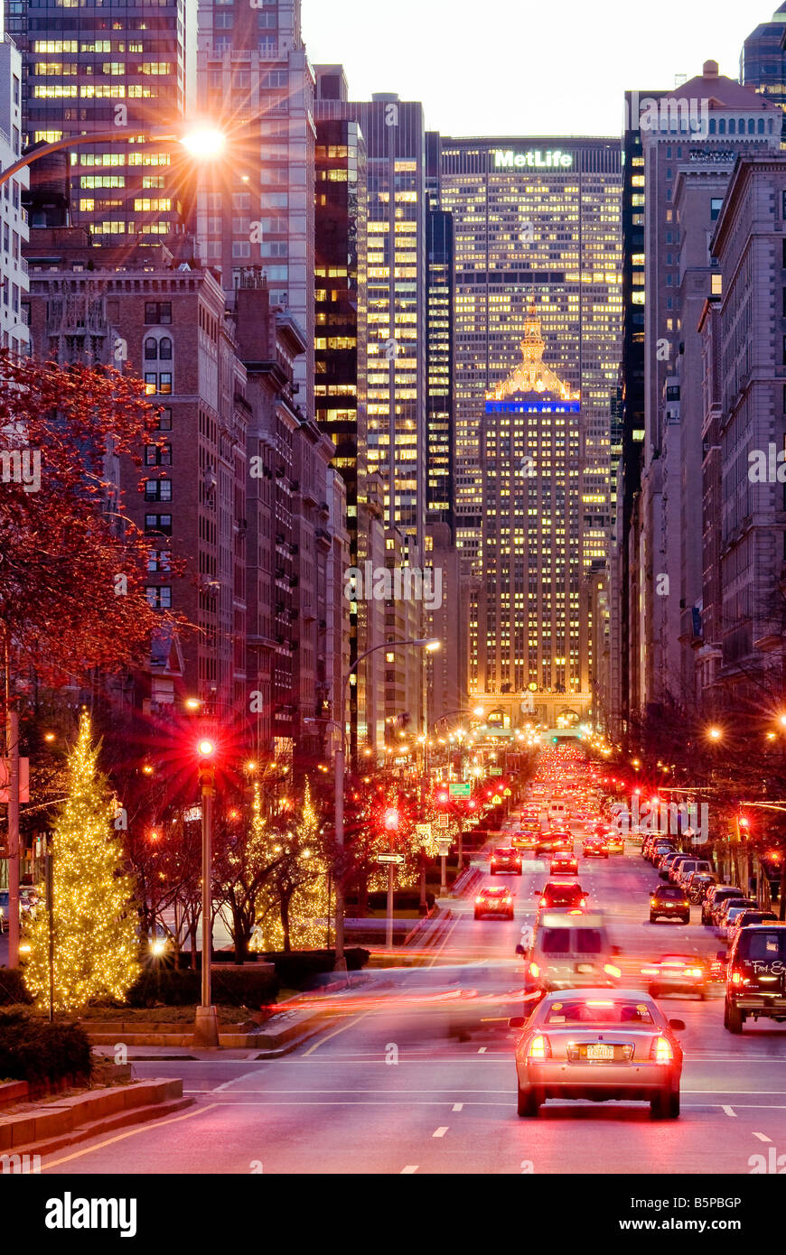 """New York City. """"Park Avenue"""" At Dusk In Winter With"""