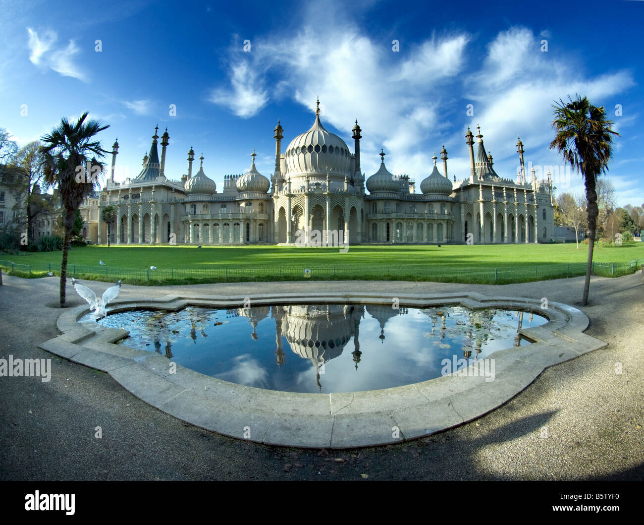 Royal Pavilion, Brighton, Sussex, extreme wide angle Stock Photo