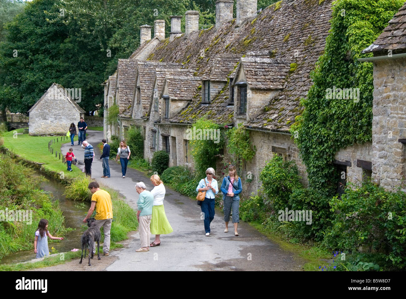 Cotswold Stone Cottages In The Village Of Bibury