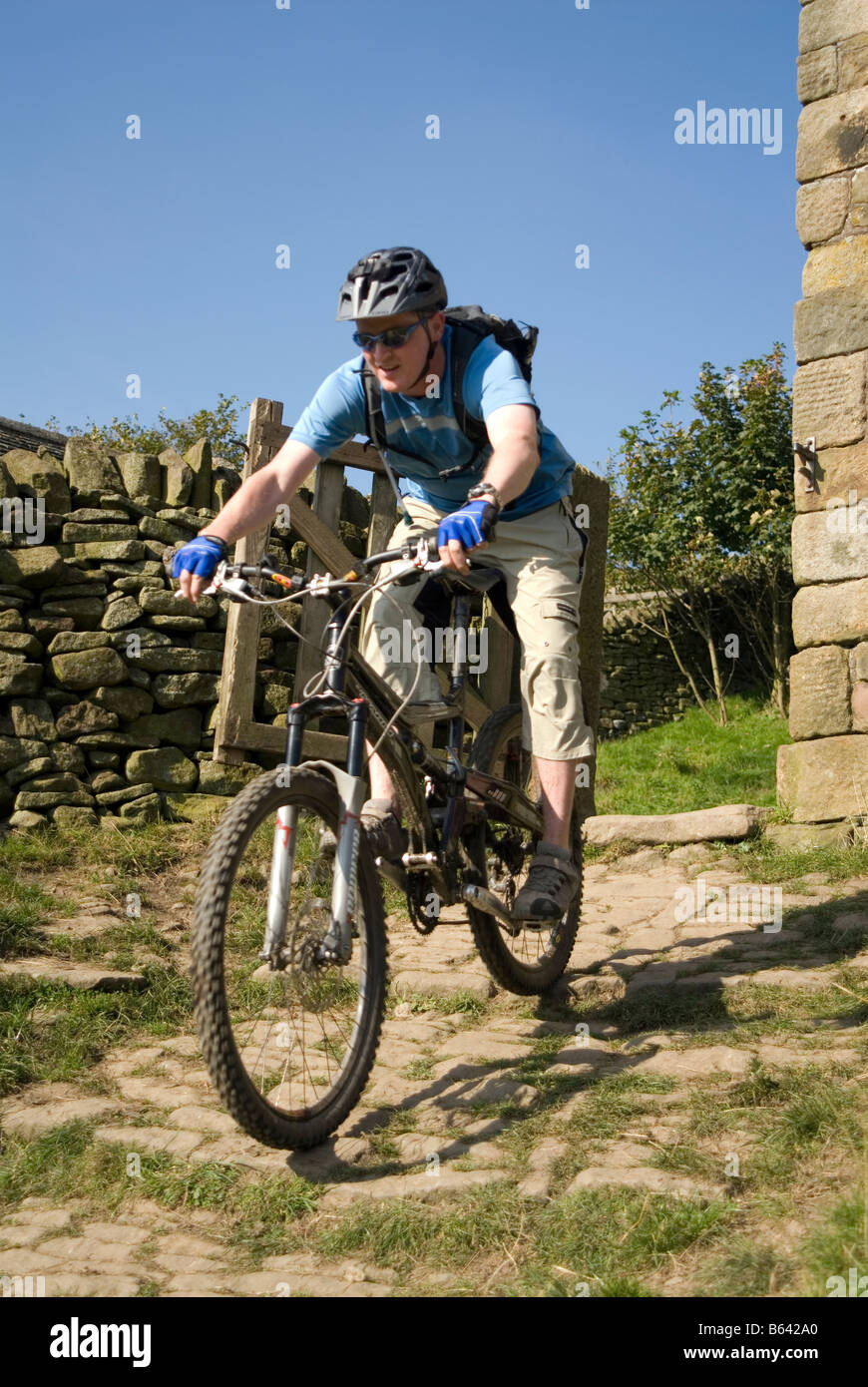 Mountain biking in the Peak District National Park Derbyshire visit tourist tourism Stock Photo