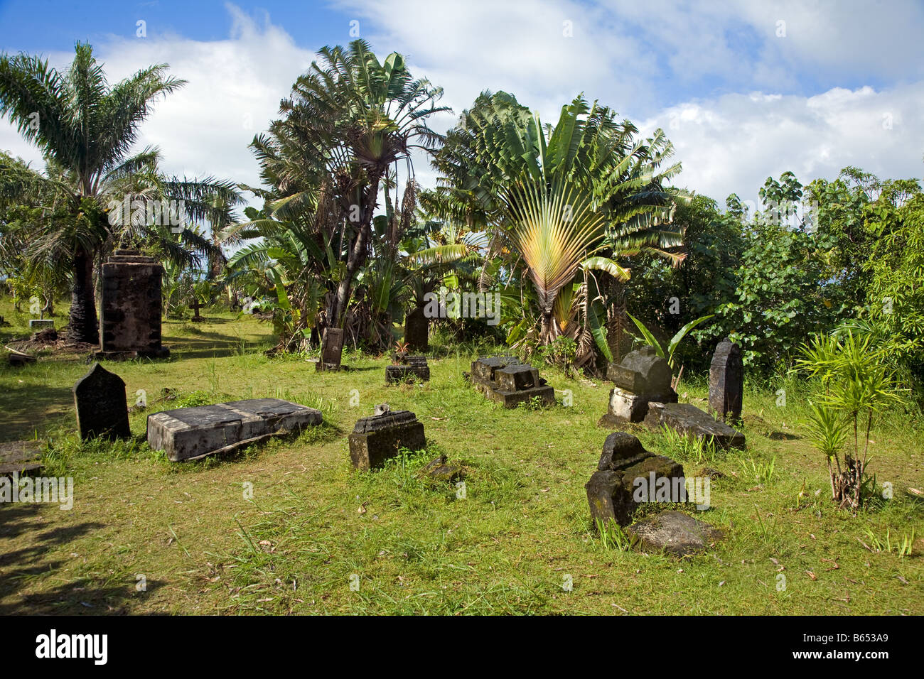 Pirate Cemetery On L´ile Saint Marie Nosy Borahawith Fan Palm, Also Stock Photo, Royalty Free