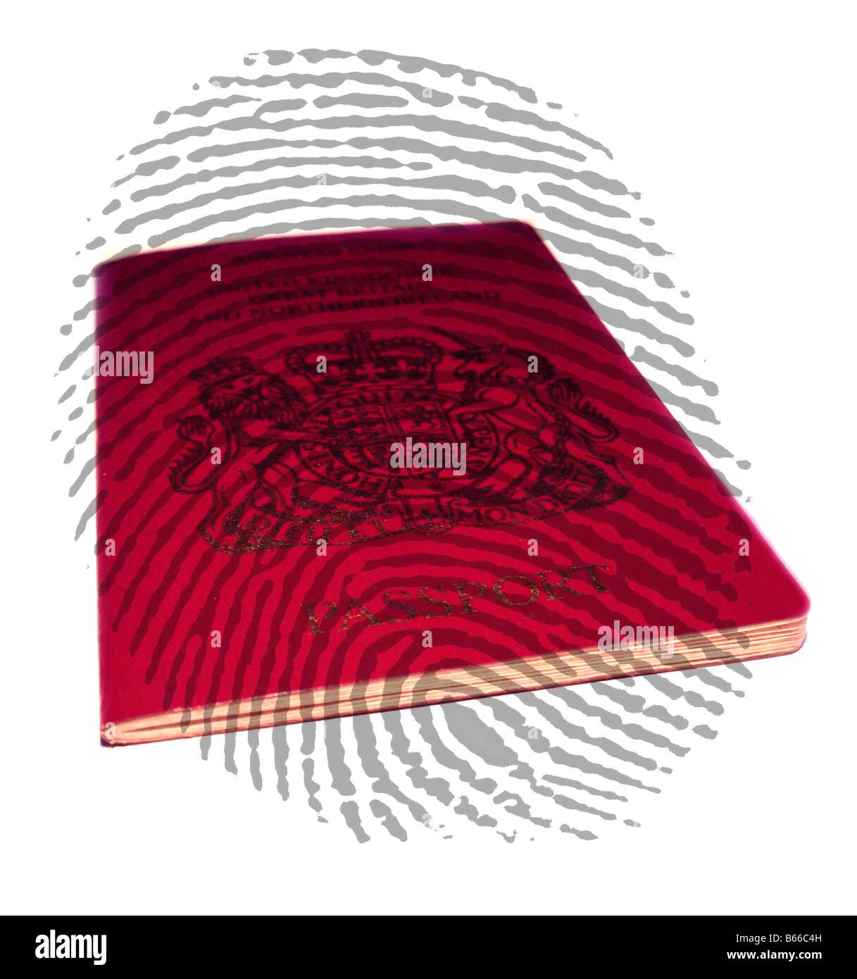A UK Passport overlaid with Fingerprint Stock Photo