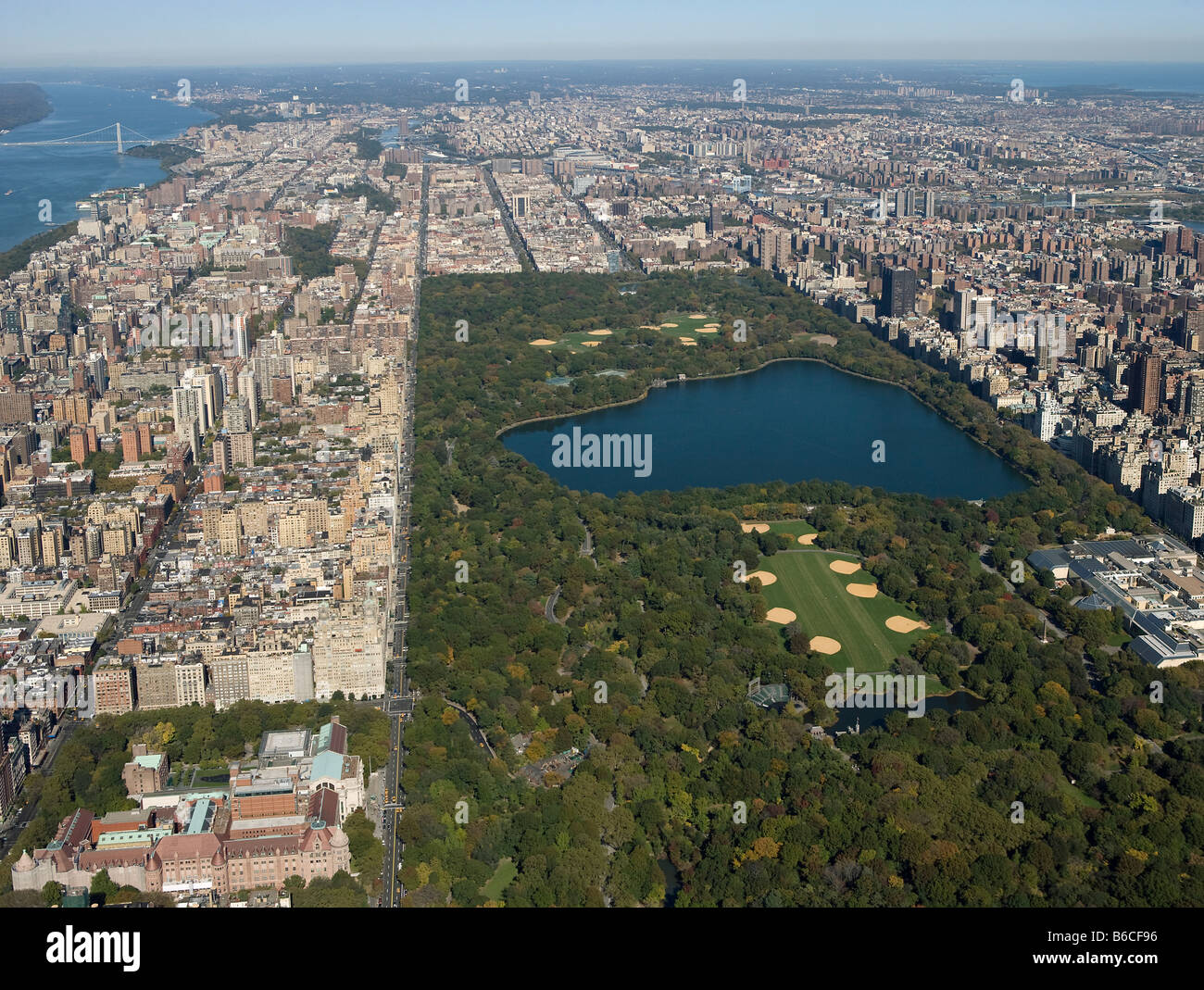 aerial view above Central Park New York City Stock Photo