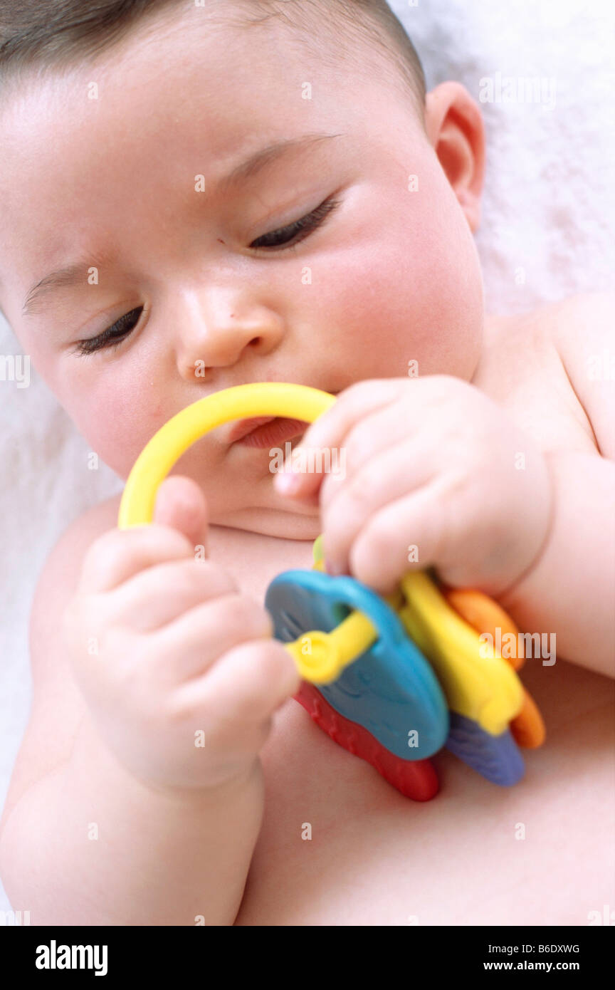 Toys For 6 Month Old Baby Boy : Baby boy month old playing with a toy stock