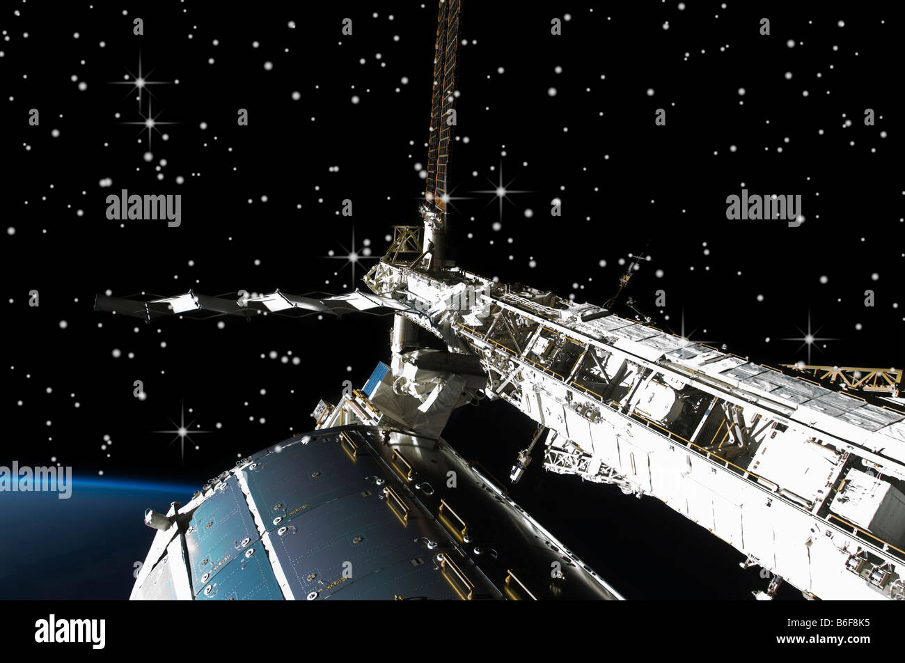 NASA view of International Space Station (ISS) flying ...