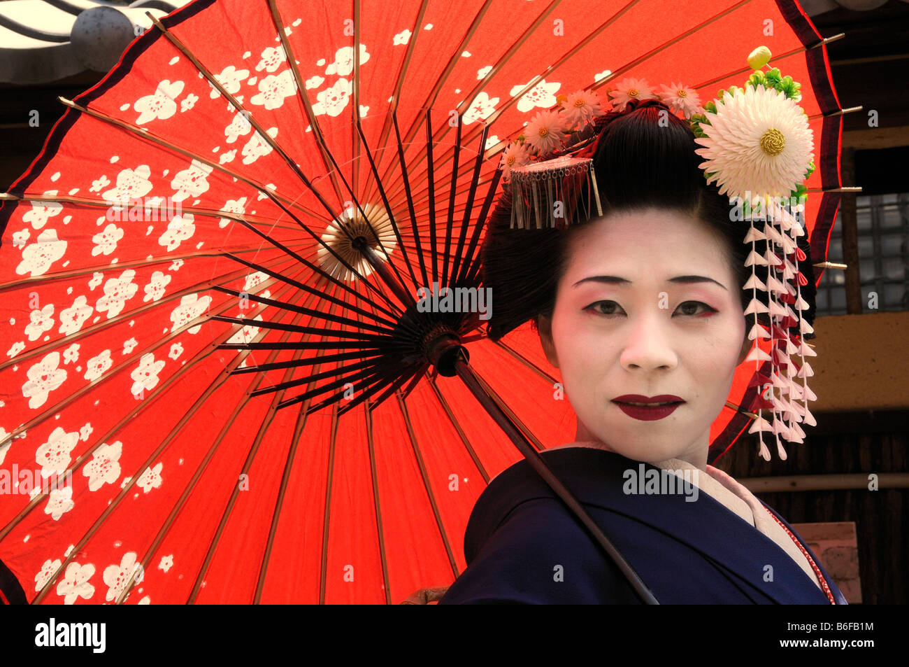 a maiko a trainee geisha carrying a red sun parasol or. Black Bedroom Furniture Sets. Home Design Ideas