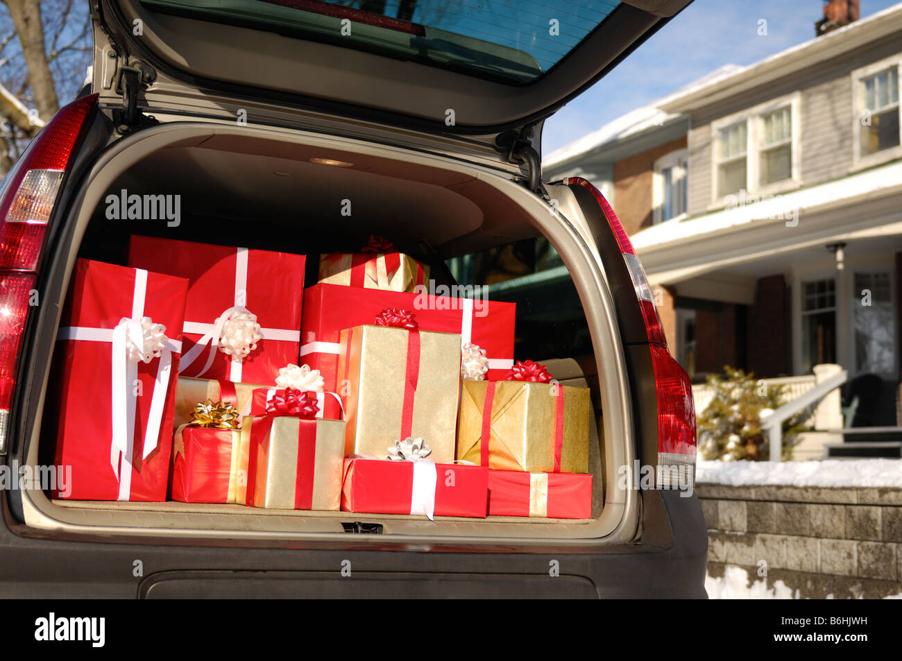 Christmas gifts in a trunk of car stock photo royalty