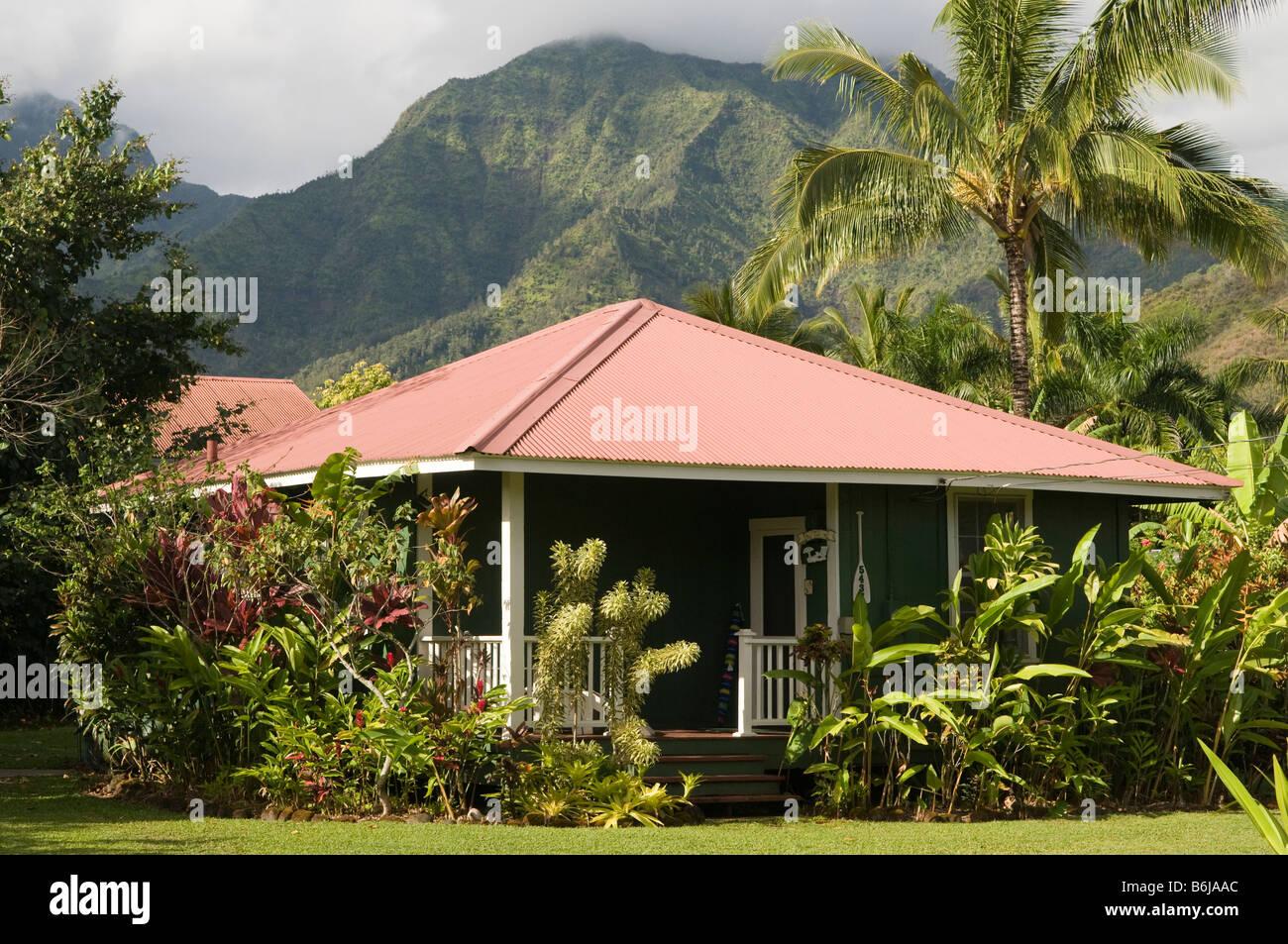Traditional plantation style hawaiian house hanalei for Hawaiian plantation architecture