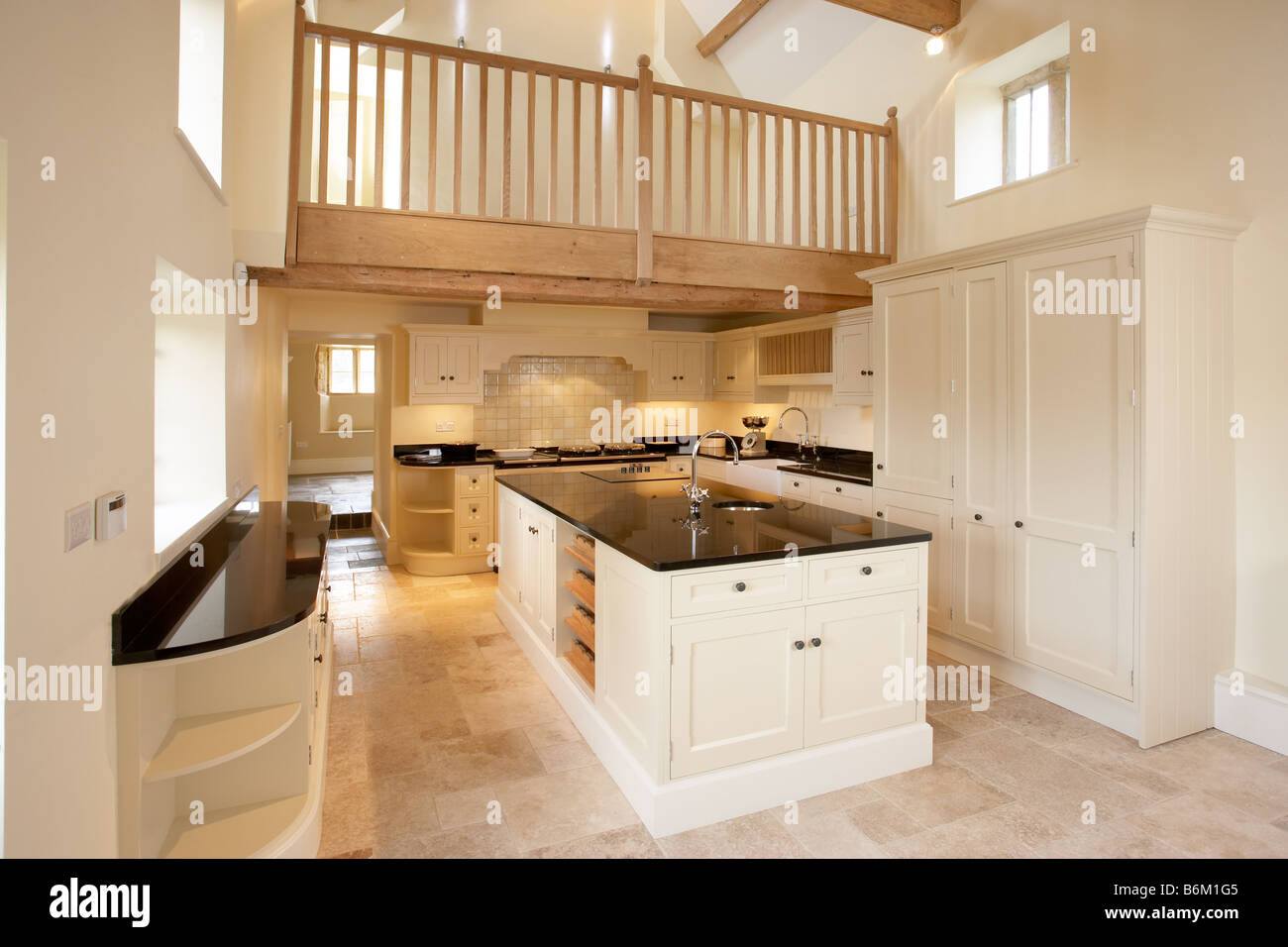 New converted kitchen in cotswold farmhouse with mezzanine for How do i build a mezzanine