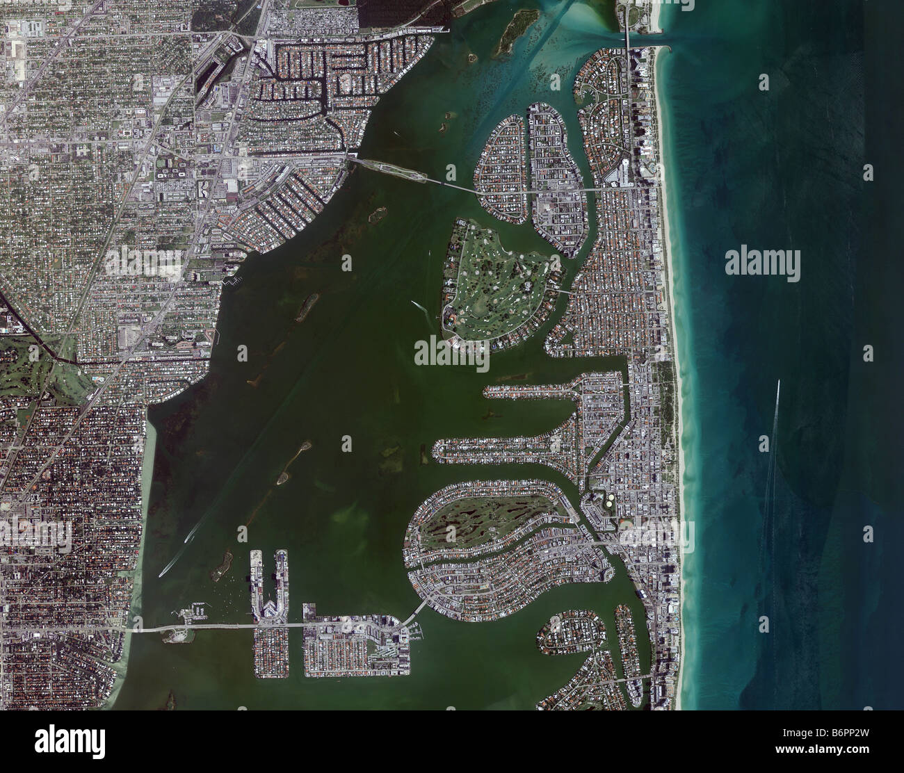 aerial map view above Miami Biscayne bay intercoastal waterway and Miami beach shoreline Florida Stock Photo