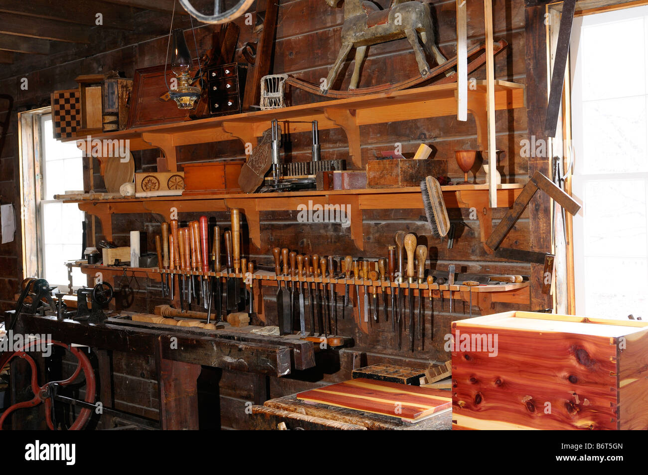 Historic 1867 cabinet makers shop with lathe in black for Cabinet makers