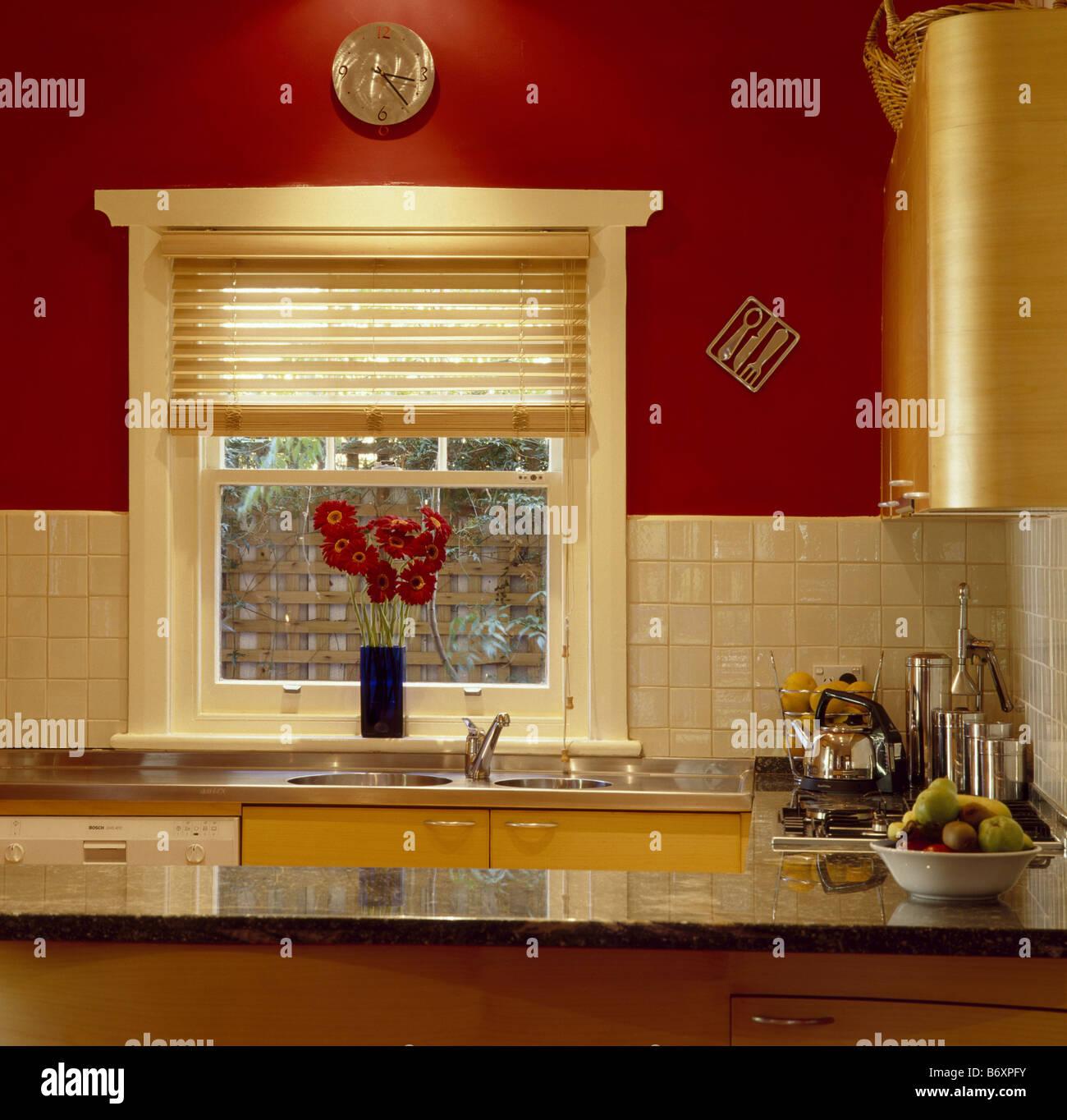 Cream Pinoleum Blind On Window In Red Kitchen With Cream
