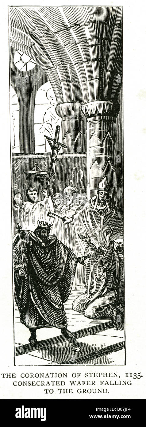 the coronation of Stephen 1135 consecrated wafer falling to the ground 1096 – 25 October 1154 Stock Photo