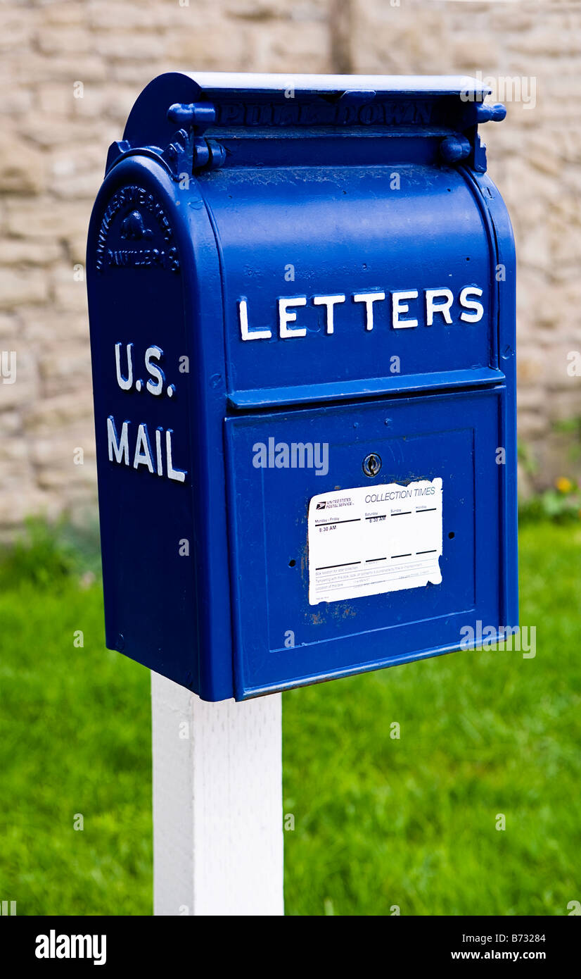image of an old fashioned blue metal us mail letter box With old fashioned letter box