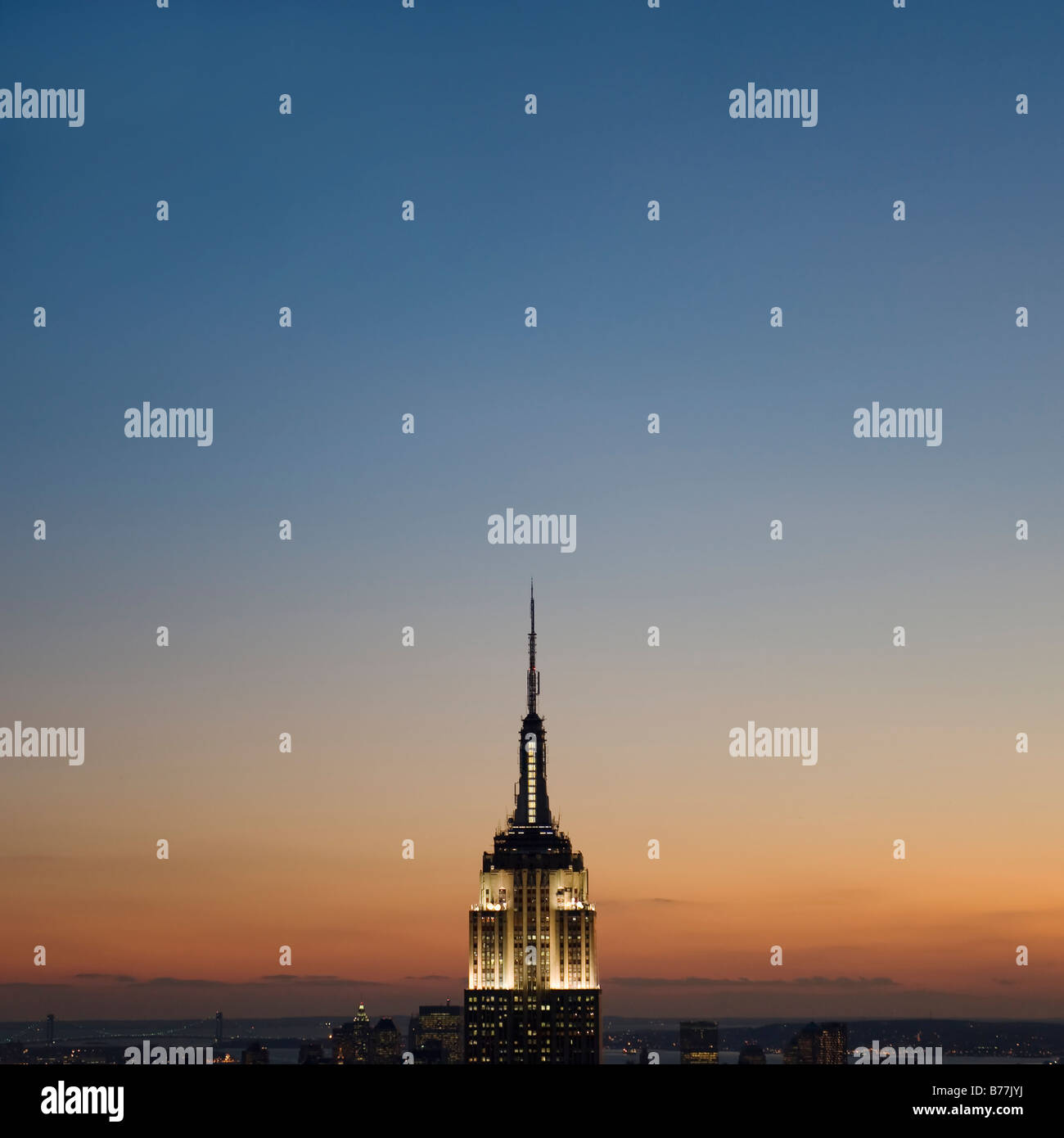 Sunset view of Empire State Building Stock Foto