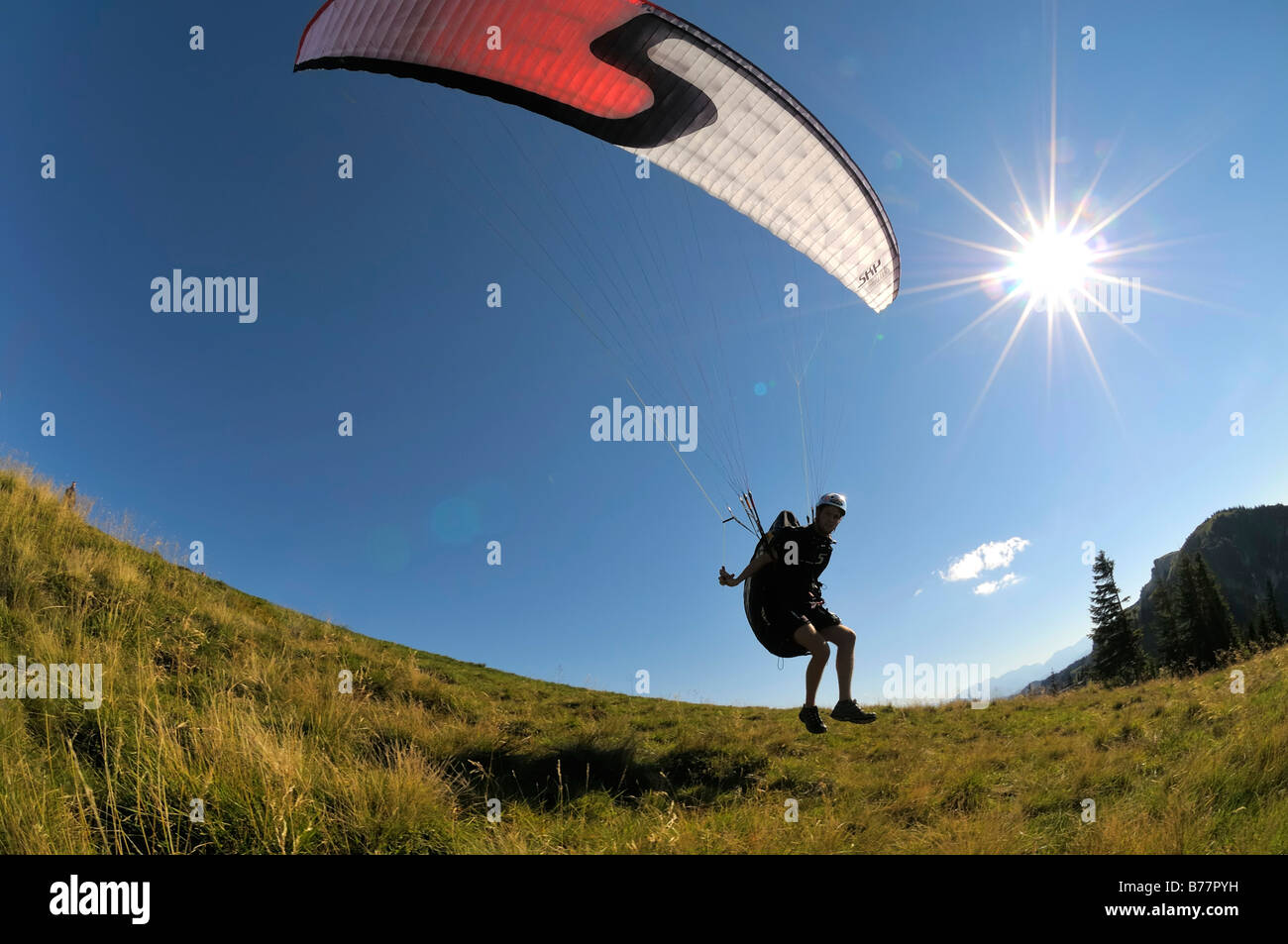 Paraglider taking off, backlit, wide-angle shot, Brauneck, Upper Bavaria, Germany, Europe Stock Photo